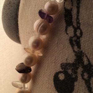Jewelry - Genuine pearls amethyst and clear quartz
